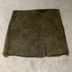 Blank NYC Olive Suede Miniskirt